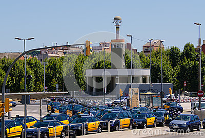 Barcelona taxi stop Spain Editorial Stock Photo
