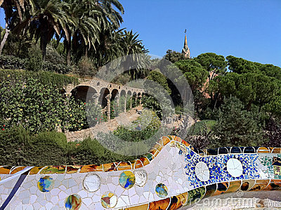 Barcelona. A terrace  in park Guell
