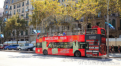 Barcelona Tour City Bus Editorial Stock Image