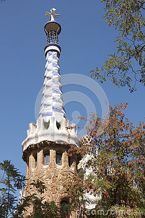 Barcelona. A tower  at an input in park Guell