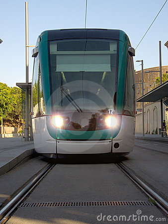 Barcelona tram from the front