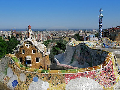 Barcelona view: Park Guell, famous park by Gaudi