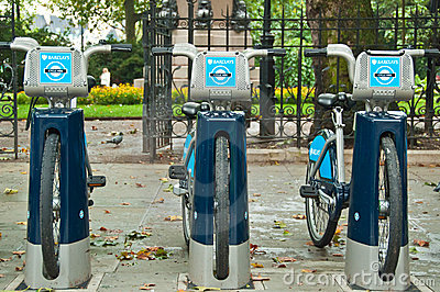 Barclays bicycles for hire, London, UK Editorial Photo