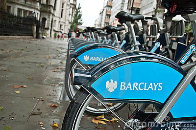 Barclays bicycles for hire, London, UK Editorial Stock Photo