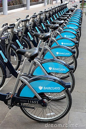 Barclays Bikes in London re Boris Johnson Editorial Photography