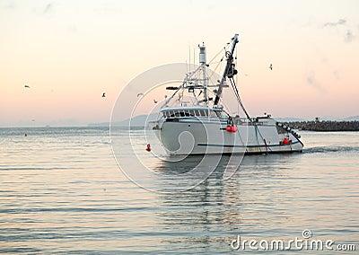 Barco de pesca que incorpora amanecer del puerto de Ventura