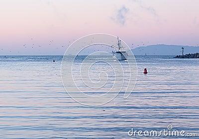 Barco de pesca que incorpora o alvorecer do porto de Ventura