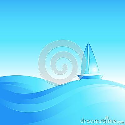 Barco en las ondas del mar.