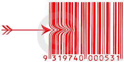 Red barcode with a arrow pushing left side