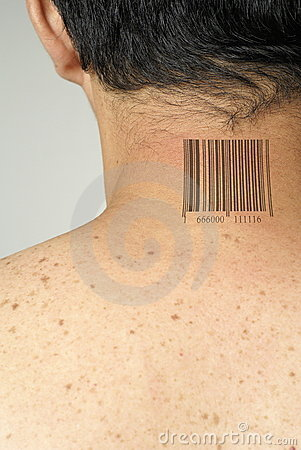 Asian with barcode tattoo on back of neck. Keywords: