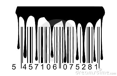 Barcode black paint drips