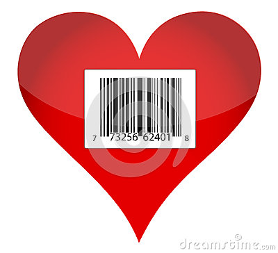 Barcode heart illustration design