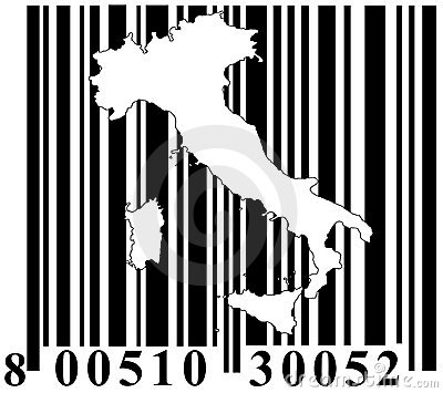 Barcode with Italy outline