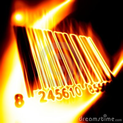 Barcode surrounded by fire