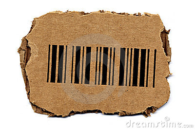 Barcode on Torned Cardboard