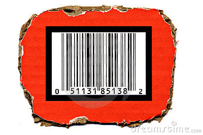 Barcode on Torned Cardboard