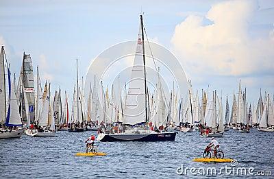 Barcolana赛船会在的里雅斯特 编辑类库存照片