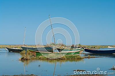 Barcos de pesca tradicionales africanos