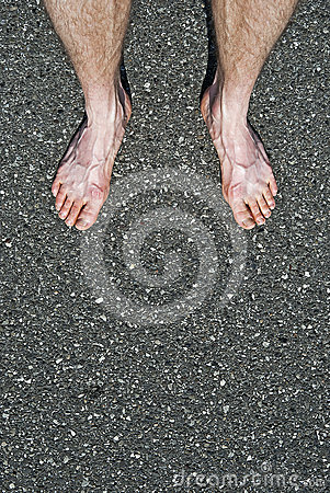 Bare feet on cement