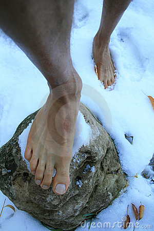 Bare Feet In Snow