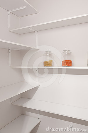Glass jars in pantry