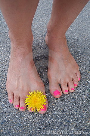 Bare summer feet