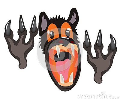 Bared mouth of the wolf on white background