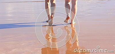 Beach walk barefoot
