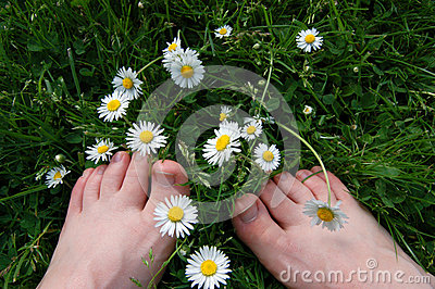 Barefoot among the daisies