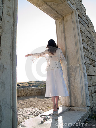 Barefoot Girl Looking Straight Ruins