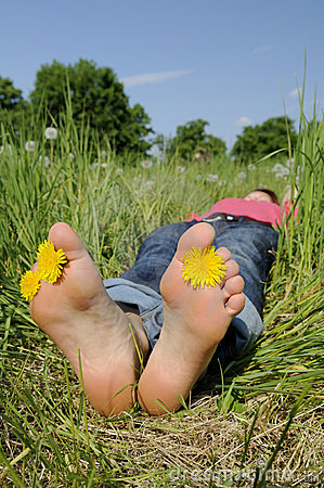 Barefoot in a meadow
