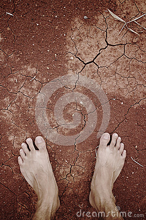 Free Barefoot Standing On Dry Cracked Stock Image - 31421091