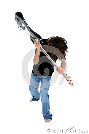 Barefoot Teen Boy Throwing Bass Guitar