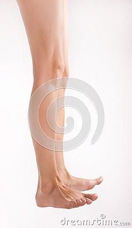 Barefoot woman legs