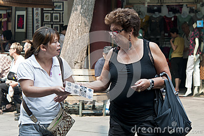 Bargain on the street Editorial Stock Image