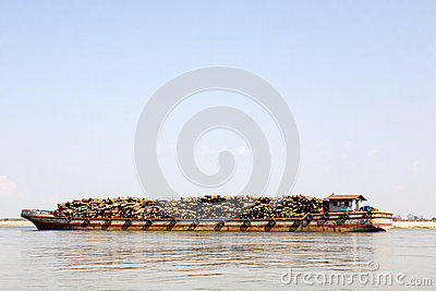Barge Carrying Logs Editorial Image