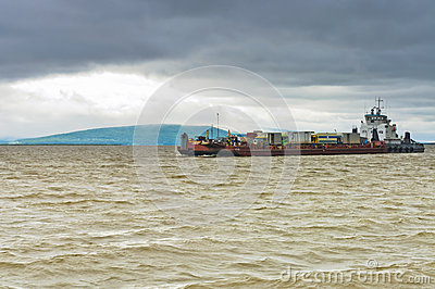 Barge with cars Editorial Image