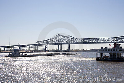 Barge on the Mississippi River Editorial Stock Photo