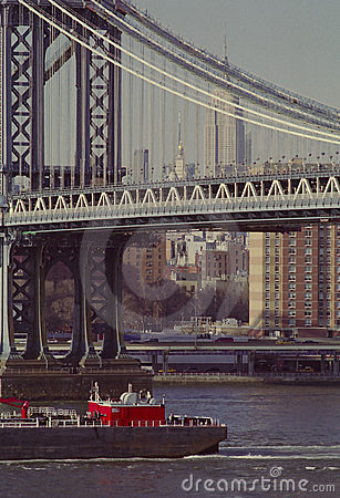 Barge on New Yorks East River USA