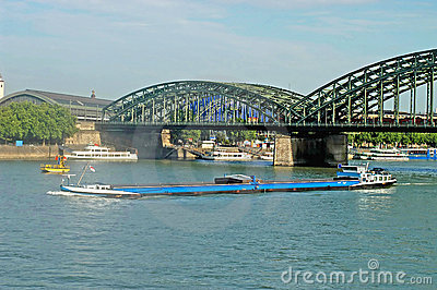 Barge on the Rhine - Cologne - Germany