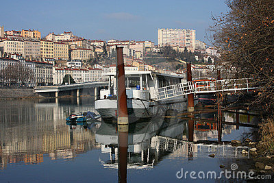 Barge on Rhone river in Lyon