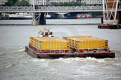 Barge on Thames River