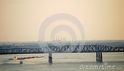 Barge traveling down the Mississippi River