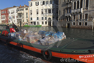 Barge in Venice Editorial Stock Photo