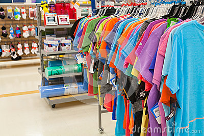 Bargin Shopping: Women s Fitness Clothing and Gear Editorial Stock Photo