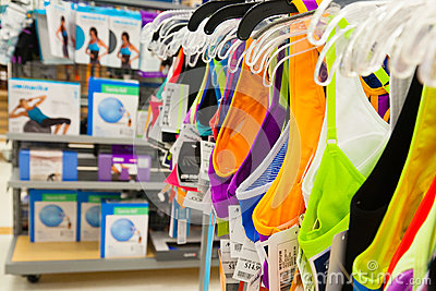 Bargin Shopping: Womens Fitness and Sports Clothin Editorial Photography