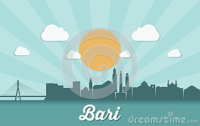 Bari skyline - Italy - vector illustration Vector Illustration