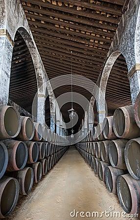Barils de xérès dans le bodega de Jerez, Espagne