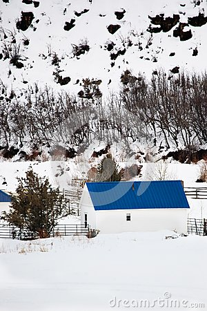 Barn with Blue Roof in Winter Landscape