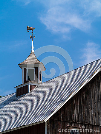Barn Cupola With Cow Weathervane Royalty Free Stock Image